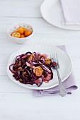 Red cabbage salad with kumquats