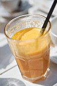 A glass of freshly squeezed orange juice
