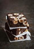Chocolate slices with hazelnuts