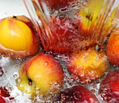 Nectarines being washed
