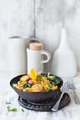 Saffron chicken with vegetables