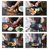 Cooking vegetables in wok