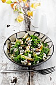 Pasta salad with green kale and blue cheese