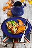 Chicken roulade with green kale and smoked fish (England)