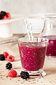 A raspberry and blackberry smoothie