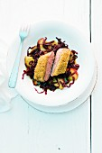 Duck breast with a chestnut crusty, caramelised apples and red cabbage