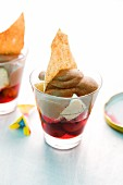 Sour cherry trifle with chocolate cream