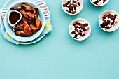 BBQ Chicken Wings und Eisdessert
