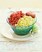 Red and green grape granita