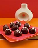 Chocolate pralines with sugar
