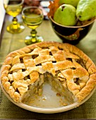 An autumnal pear pie, sliced