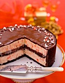 Chocolate ice cream cake with peppermint bonbons for Christmas