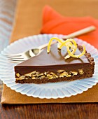 A slice of chocolate-nut cake