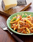 Penne with Bolognese sauce and Parmesan