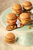 Macaroons filled with cream on a cake slice