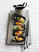 Steamed mussels with sake, soy sauce and coriander