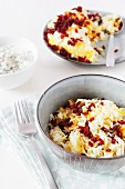 Persian saffron rice with barberries and mint yoghurt