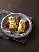 Polenta slices with peppers