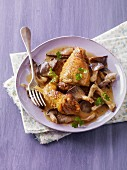 Chicken in a cider sauce with mushrooms