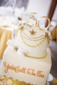 A golden wedding anniversary cake