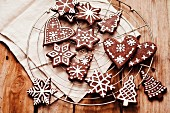 Various different shaped gingerbread decorated with icing sugar