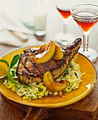 Pork chop on a leek medley with apple