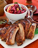 Pork ribs with red cabbage