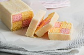 Battenburg cake, sliced