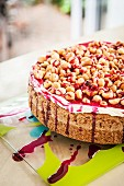 Macadamia nut cake with cherry sauce