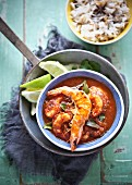 Prawns in a spicy tomato sauce with spicy rice