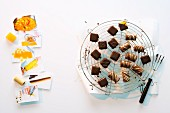 Orange and chilli pralines and marzipan nougat pralines