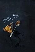 A slice of pork pie with mustard