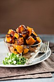 Diced roasted pumpkin with salted caramel sauce