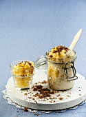 Ice cream with pineapple and chilli flakes