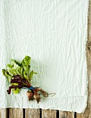 Root vegetables on a white cloth