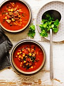 Tomato soup with chickpeas and lamb