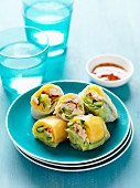 Rice paper rolls filled with chicken and mango