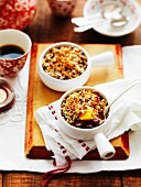 Cherry and peach crumble
