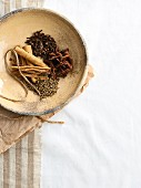 Various spices in a light ceramic bowl