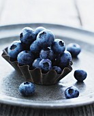 Blueberries in a baking tin
