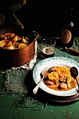 Irish lamb stew in a pot and on a plate