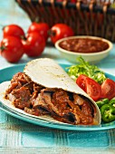 Tortilla with beef, tomato salsa and vegetables