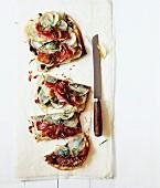 Potato schiacciata (Italian bread) with ham and rosemary