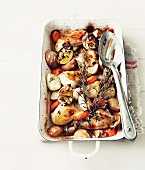 Lemon chicken with vegetables and rosemary