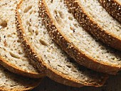 Slices of sesame seed bread (close-up)