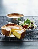 Goat's cheese cake with salad