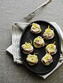 Fish cream canapés