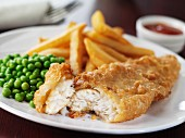 Battered cod with peas and chips