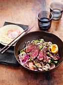 Wagyu beef and soba noodle salad with egg