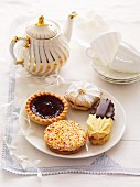 A selection of biscuits with tea
